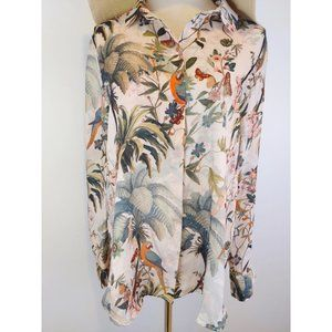H&M Tropical Front Button Long Sleeve Blouse
